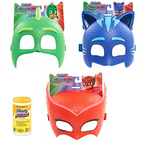 Firefighter Costume Makeup Ideas (PJ Masks Mask, Catboy, Gekko, and Owlette with Disinfectant Cleaning Wipes, 35 Count)