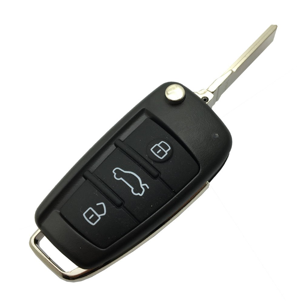 Replacement Folding Flip Key Fob Case for Audi A4 A4L Q5 Q7 Q3 Keyless Entry Remote Control Key Fob Cover