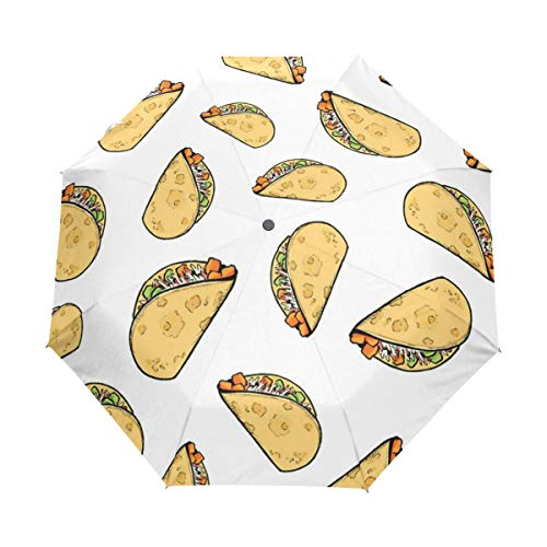 Sweet Potato Tacos Pattern Blog Compact Travel Umbrella Automatic Waterproof Reinforced Canopy for Men and Women Traveler (Blog Patio)