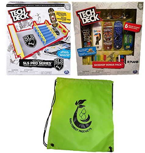Tech Deck Bundle SLS Pro Series Skate Park, Sk8shop Bonus Pack (Style May vary)) and Bag by Spin Master