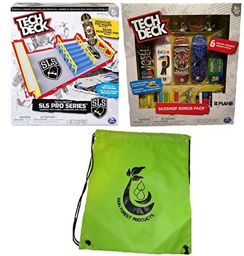 Pro Skate Decks - Tech Deck Bundle SLS Pro Series Skate Park, Sk8shop Bonus Pack (Style May vary) and Bag
