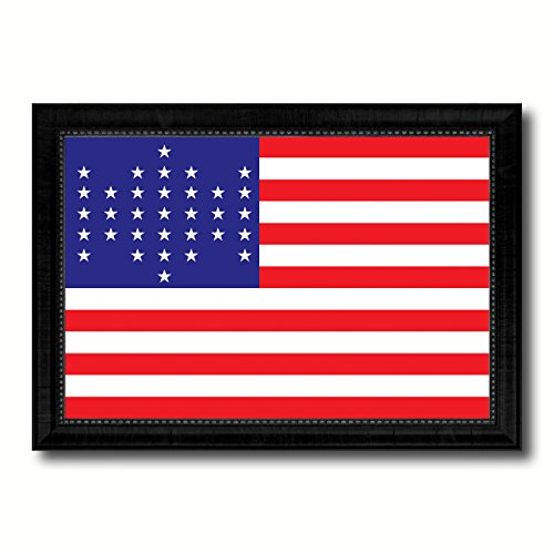 Union Civil War 33 Stars Military Flag Black Framed Canvas Print Gift Ideas Home Decor Wall Art Decoration Signs Cards, 27