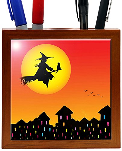 Rikki Knight 5-Inch Halloween Witch on Broomstick Silhouette Design Wooden Tile Pen Holder (Wooden Broom Pen)