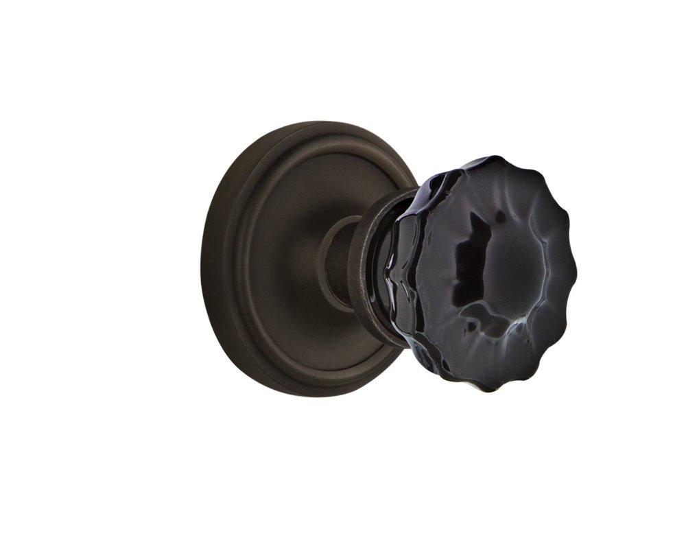 Nostalgic Warehouse 726895 Classic Rosette Single Dummy Crystal Black Glass Door Knob in Oil-Rubbed Bronze