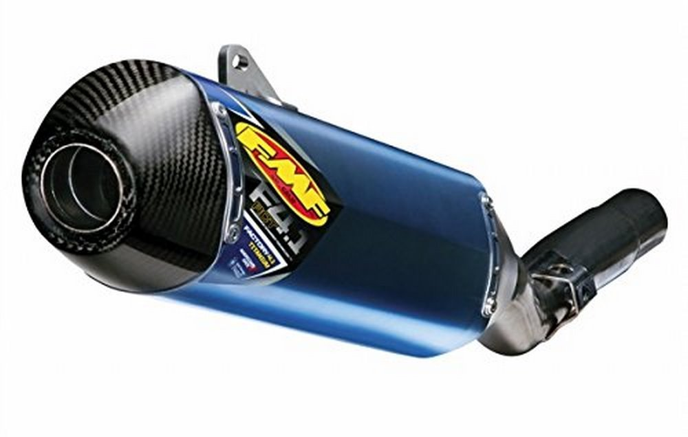 09-19 YAMAHA YFZ450R: FMF Factory 4.1 RCT Slip-On Exhaust (Blue Anodized Titanium With Titanium Mid Pipe And Carbon Fiber End Cap)