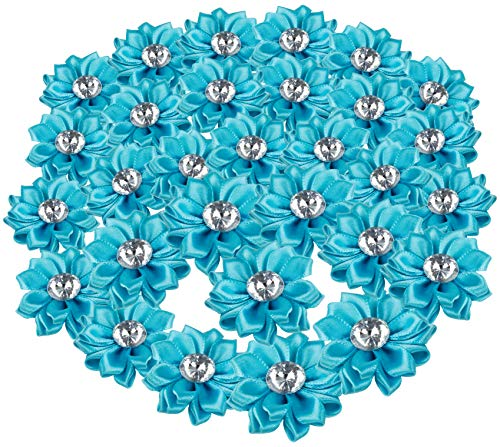 (Craft Flowers - 60-Pack Flower Embellishments with Rhinestone, 1.5-Inch Blue Satin Ribbon Fabric Flowers for Craft, DIY Wedding Decorations, Ornaments)