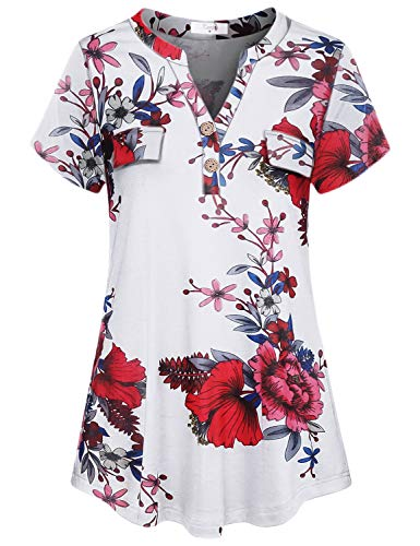 Cestyle Floral Print Shirt, Work Tops for Women Office Short Sleeve Flowy V Neck Tunic Business Wear Feminine A Line Comfy White Flower Blouse X-Large