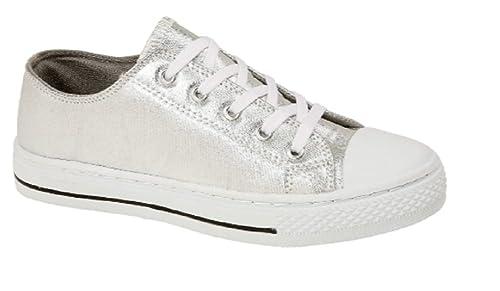 9548da233042 Boys Girls Kids Flat Lace Up Canvas Pumps Plimsoles Trainers Childrens  Sports Shoes Silver Pink Metallic Size UK Infant 6 7 8 9 10 11 12 13 1 2 3  4 5  ...