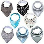 BANDANA BIBS - Ultra Absorbent to Keep Your Baby Dry - Baby Drool Bibs - Hypoallergenic Organic Cotton - Adjustable Snap Won't Pull Apart and Grows with Your Child - Boy or Girl 8 Pack by Mama Mallard