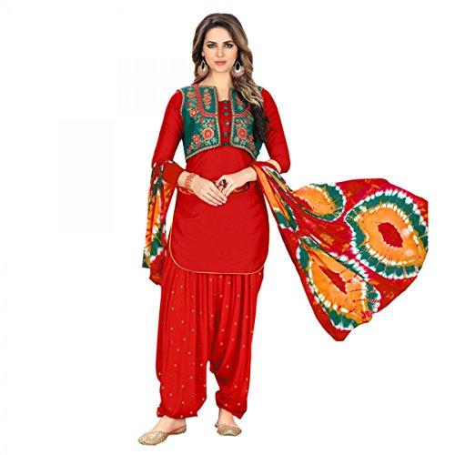 (Ready Made Patiala Salwar Embroidered Cotton Salwar Kameez Suit India/Pakistani Dress (Red, MEDIUM-40))