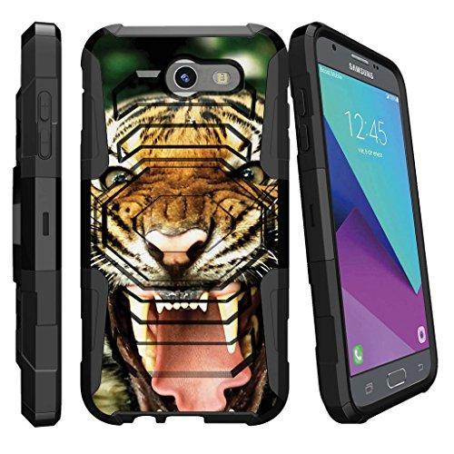 MINITURTLE Case Compatible w/Case for [Samsung Galaxy J3 Emerge | J3 Prime | J3 Eclipse | Luna Pro 2017] [Armor Reloaded] Shock Rugged Clip Case w/Hard Stand Tiger - Tiger Growling