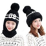 Flyott 1PC Girls Women Lady Fashion Multi-fonction Winter Warmer Thicken Crochet Knit Pom Pom Beanie Knitted Winter Ski Hat Cap With Neck Warmers Neckerchief Scarf For Outdoor Sports Wear (Black)
