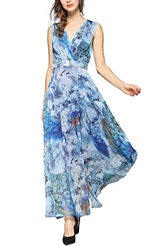 EvelynNY Womens Floral Peacock Evening Casual Split Loose Prom Party Maxi Dress, Blue, L (Peacock Blue Dress Evening)