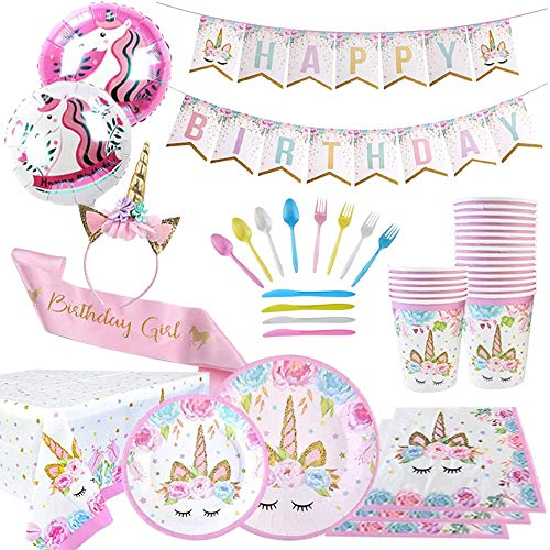 Unicorn Party Supplies | Birthday Party Supplies | Party Pack consists of Plates, Cups, Spoon, Fork, Table cover, Napkin, Happy Birthday Banner | Party Decorations | Girl's birthday party | Headband