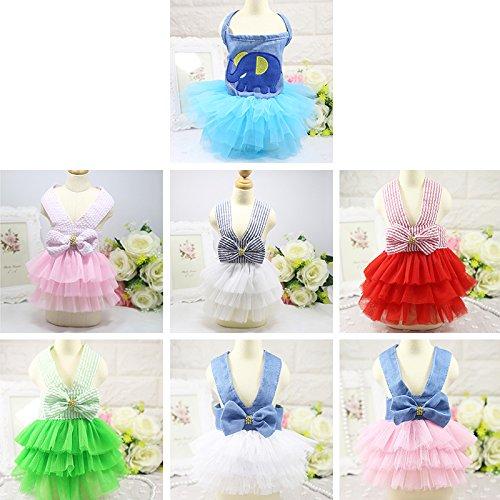 Rose, Xs: Princesse Animal Chien Chiot Chat Chien Costume De Dentelle Bowknot Été Robe Rayée De Mariage Tutu Jupe Coton Chien Floral Clothes Xs - Xxl