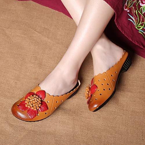 en EU Nu Chaussures Mocassins Femmes Dos 36 Fleurs de ZHRUI Jaune Sandales Taille coloré Noir Plage Cuir évider xzqZpU1WWw
