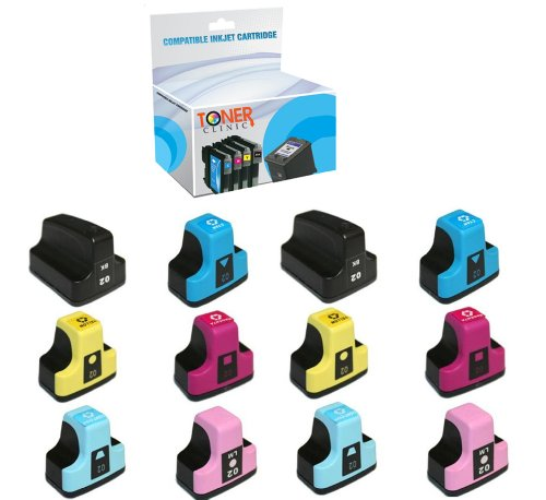 Toner Clinic Compatible Ink Cartridge Replacement for HP 02 (2 Black, 2 Cyan, 2 Yellow, 2 Magenta, 2 Light Cyan, 2 Light Magenta, 12-Pack)