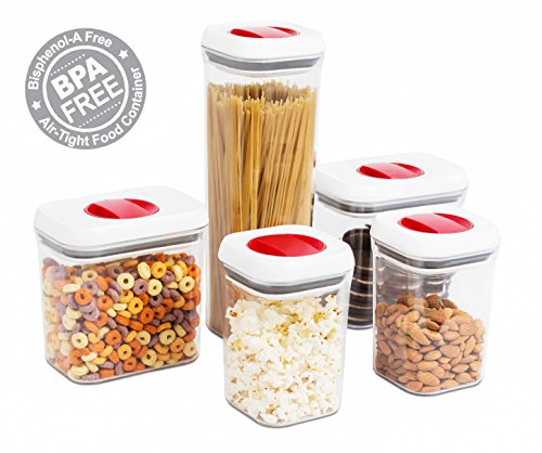 Internet's Best Spin Lock Airtight Canisters | Set of 5 | 2 Square, 2 Rectangular & 1 Tall Square Container | Stacking Food Storage Twist Lock for Sugar Rice Flour Pasta Nuts Cookies Pasta (Food Pasta Storage Containers)