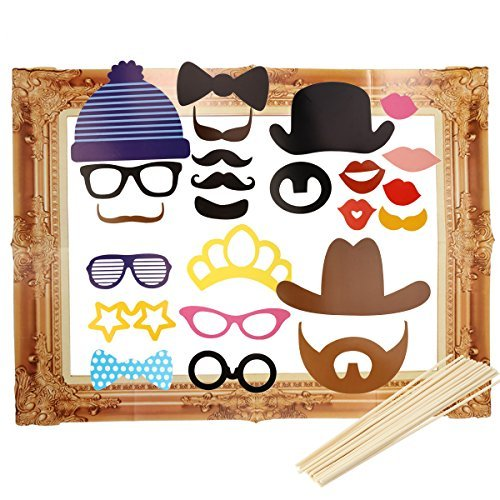 Tinksky Photo Booth Large Picture Frame Photo Props Funny Faces Party Wedding Luau Hawaii children's party Decoration 24-pack (Photo Booth Card Frame)