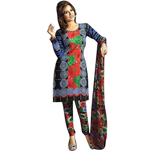 Ladyline Readymade French Crepe Printed Salwar Kameez Suit Indian