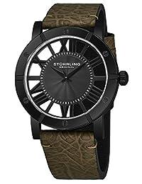 Stuhrling - Reloj de pulsera para hombre, correa de piel, cuarzo suizo, Ronda Mvmt, colección 881, Verde