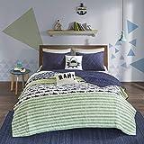 Urban Habitat - Juego de Ropa de Cama para niños, diseño de Rayas de tiburón, Color Verde, Azul Marino, 4 Piezas
