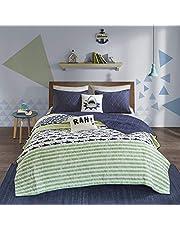 Urban Habitat Kids Finn Full/Queen Bedding Sets Boys Quilt Set - Green, Navy, Shark Stripe – 5 Piece Kids Quilt for Boys – 100% Cotton Quilt Sets Coverlet