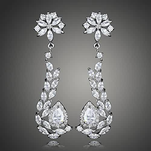 Flower Swarovski Element Earring Dangle Crystal Earrings Silvery Plated for women