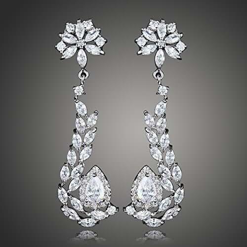 Flower Swarovski Element Earring Dangle Crystal Earrings Silvery Plated for women