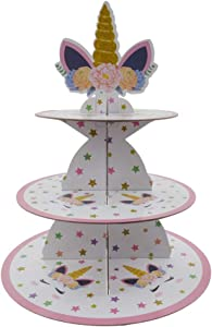 LIDAGO Unicorn Party 3-Tier Cardboard Cupcake Stand Dessert Tower Pastry Serving Platter Food Display | Kids Birthday Party Supplies Accessories - 1 Set