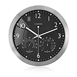 COZIME 12 Silent Non-ticking Wall Clock with Left/ Right Thermometer Hygrometer Multi-function Display Metal Frame Indoor Clock