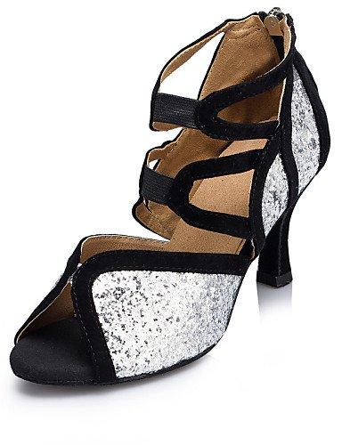 La mode moderne des femmes Sandales Chaussures de danse de bal Latino Salsa Jazz sandales talon personnalisés troupeau Paillette Glitter Silver Sparkling Silver,NOUS,4-4.5/EU34/UK2-2.5/CN33