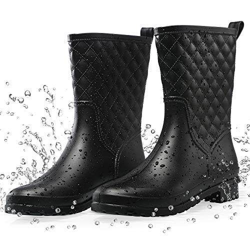 Petrass Women Rain Boots Black Waterproof Mid Calf Lightweight Cute Booties Fashion Out Work Comfortable Garden Shoes Black 8M
