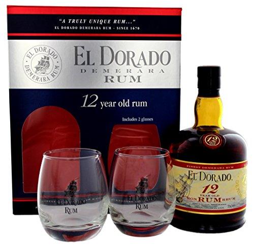 El Dorado 12 Years Old mit Geschenkverpackung mit 2 Gläsern  Rum (1 x 0.7 l)