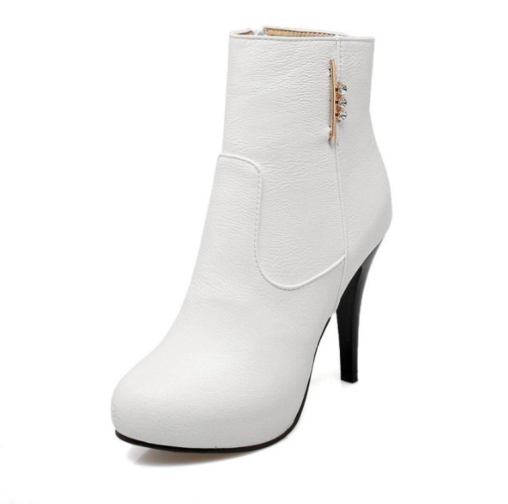 Zrf angenehm Rutschfest Art und Weise Europa und die Vereinigten Staaten dünnen hohen Absatz Seitlichem Reißverschluss weibliche Kurze Stiefel widerstandsfähig warm (Farbe   Weiß größe   41)