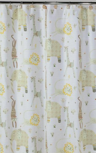 - Creative Bath Products S1022NAT Animal Crackers Shower Curtain, Off-White