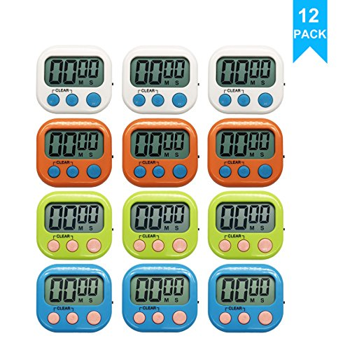 Xpeciall Digital Kitchen Timer Cooking Timers Clock with Big Digits Loud Alarm Magnetic Backing and Stand with Large LCD Display for Cooking Baking (12 Pack, 4 Color)