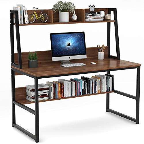 Tribesigns Computer Desk with Hutch and Bookshelf, 47'' Home Office Desk with Space Saving Design for Small Spaces, Retro Brown by Tribesigns (Image #1)