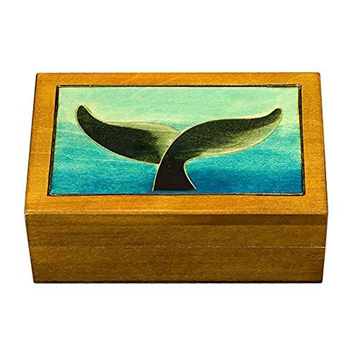 (Whale's Tail Handmade Keepsake Linden Wood Jewelry Box Polish Small Trinket Whale Ocean Keepsake)