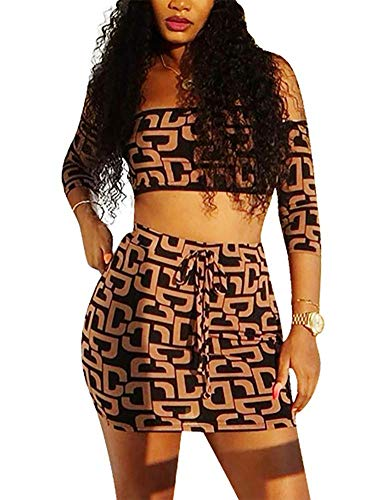 (LAJIOJIO Sexy 2 Piece Outfits Dress Off Shoulder Long Sleeve Tops Bodycon Mini Skirt Suits for Ladies Brown)