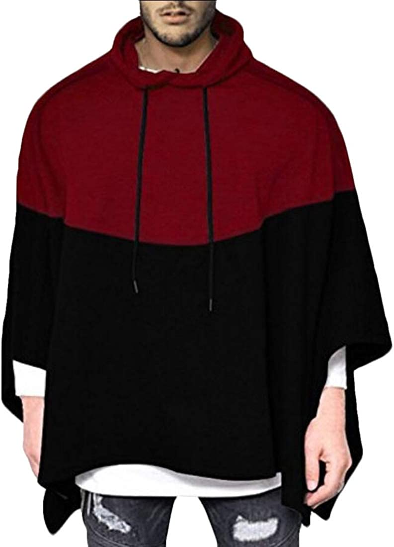 desolateness Men Color Block Hooded Poncho Cape Oversized Batwing Sleeves Coat Pullover Cloaks