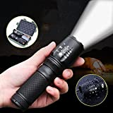Gadget Zone UK 5-Mode 8000LM T6 Zoomable Rechargeable Tactical Waterproof Flashlight LED Torch Lamp Lights For Outdoor Garden Camping Hiking Bike Bicycle Cycle Cycling handlebar Mount Stand Holder , Dog Walk