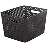 Curver 18 Litre Plastic My Style Rectangle Nestable Rattan Basket, Brown