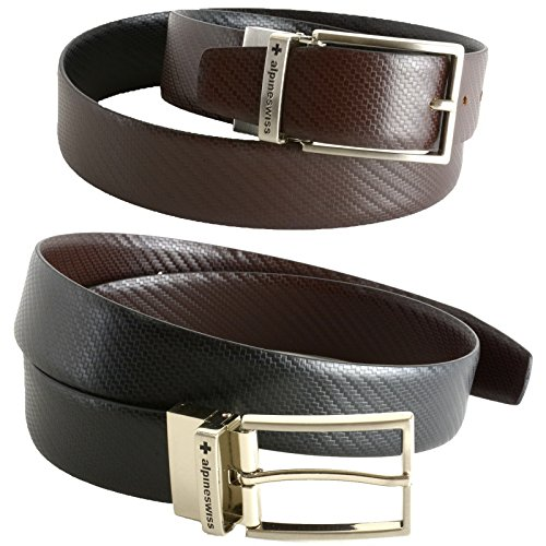 - Alpine Swiss Mens Dress Belts Reversible Black Brown Leather Imported from Spain,Pattern,36