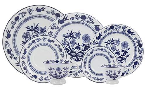 Serviço de Jantar Chá Café 42 peças em Porcelana. Modelo Redondo com Relevo Pomerode. Decoração Cebolinha. Fabricado pela Schmidt.