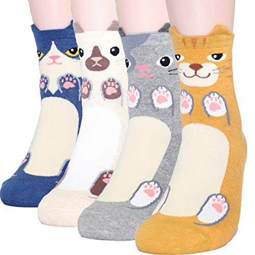 DearMy Womens Cute Design Casual Cotton Crew Socks | One Size Fits All | Gifts for Women (Cute Cat 4 pairs) ()