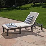 Estrella Outdoor Multibrown Wicker Adjustable Chaise Lounge Chair w/Cushion