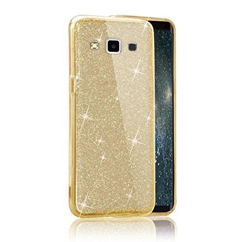 Funda Doble para Samsung Galaxy E5, Vandot Bling Brillo Carcasa Protectora 360 Grados Full Body | TPU en Transparente Ultra Slim Case Cover | Protección Completa Delantera y Trasera Cocha Smartphone M Bling Gold