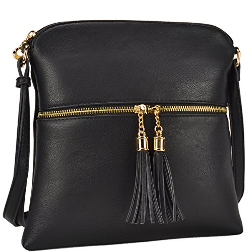 Dasein Lightweight Medium Crossbody Bag Vegan Leather Shoulder Bag Small Travel Purse with Tassel (Shoulder Bag Gold Medium)