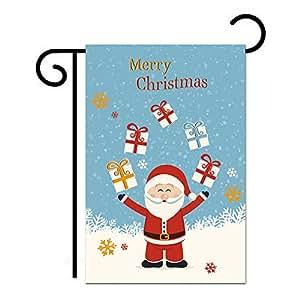 schlitzgnff Santa Claus Pattern Garden Flag,Christmas Flag,Winter Holiday Decor 12*18inch
